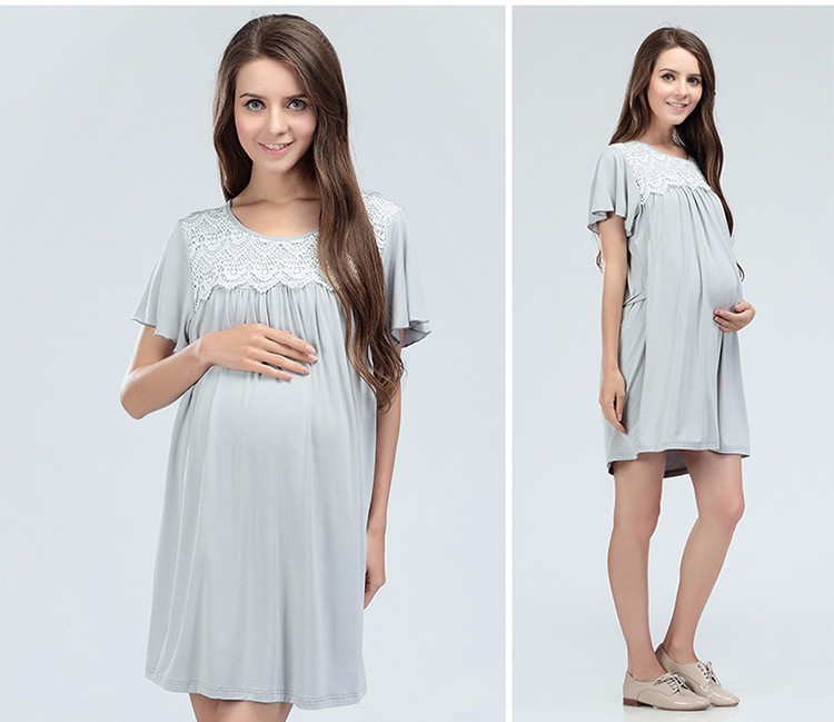 Lace Neck Maternity Dresses Waist Pregnant Clothing