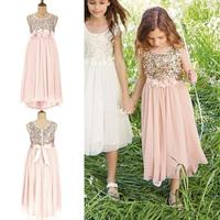 Blush Flower Girls Dresses Gold Sequins Hand Made Flower Sash Tea Length Tulle Kids Formal Dress Junior Bridesmaid Dress