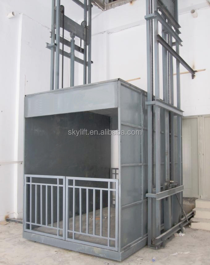 vertical guide rail monte charge hydraulique plate forme ascenseur hydraulique pour marchandises. Black Bedroom Furniture Sets. Home Design Ideas