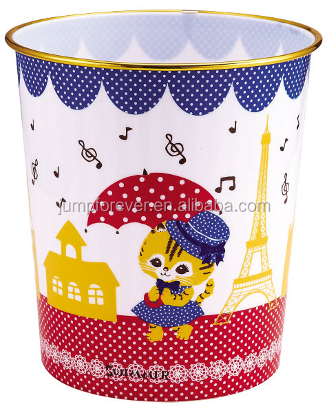 Hot sale open top high quality Cartoon drawing plastic trash can