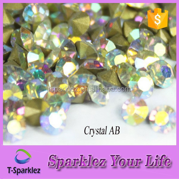 Crystal AB Machine Cut Glass Chatons Shiny Chatons