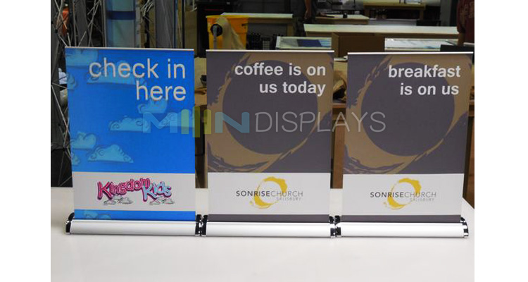 Small Exhibition Stand Sizes : Small size table roll up banner 3a 4a aluminum roll up stands for