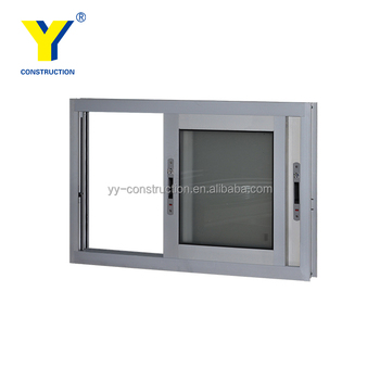 Aluminum Sliding Window Parts With Double Impact Glass For Standard Kitchen  Window Size