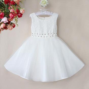 225d5875cb Frete Grátis Meninas Vestidos de Casamento Branco Puro Vestido Com Strass  Cinto Vestido de Verão Crianças