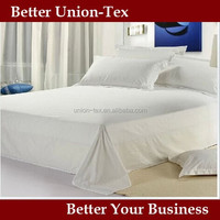 250T cotton/poly sateen white queen size sheets bed for hotels or hospital