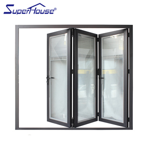 Philippines price and design interior double door frameless glass folding sliding door made in China