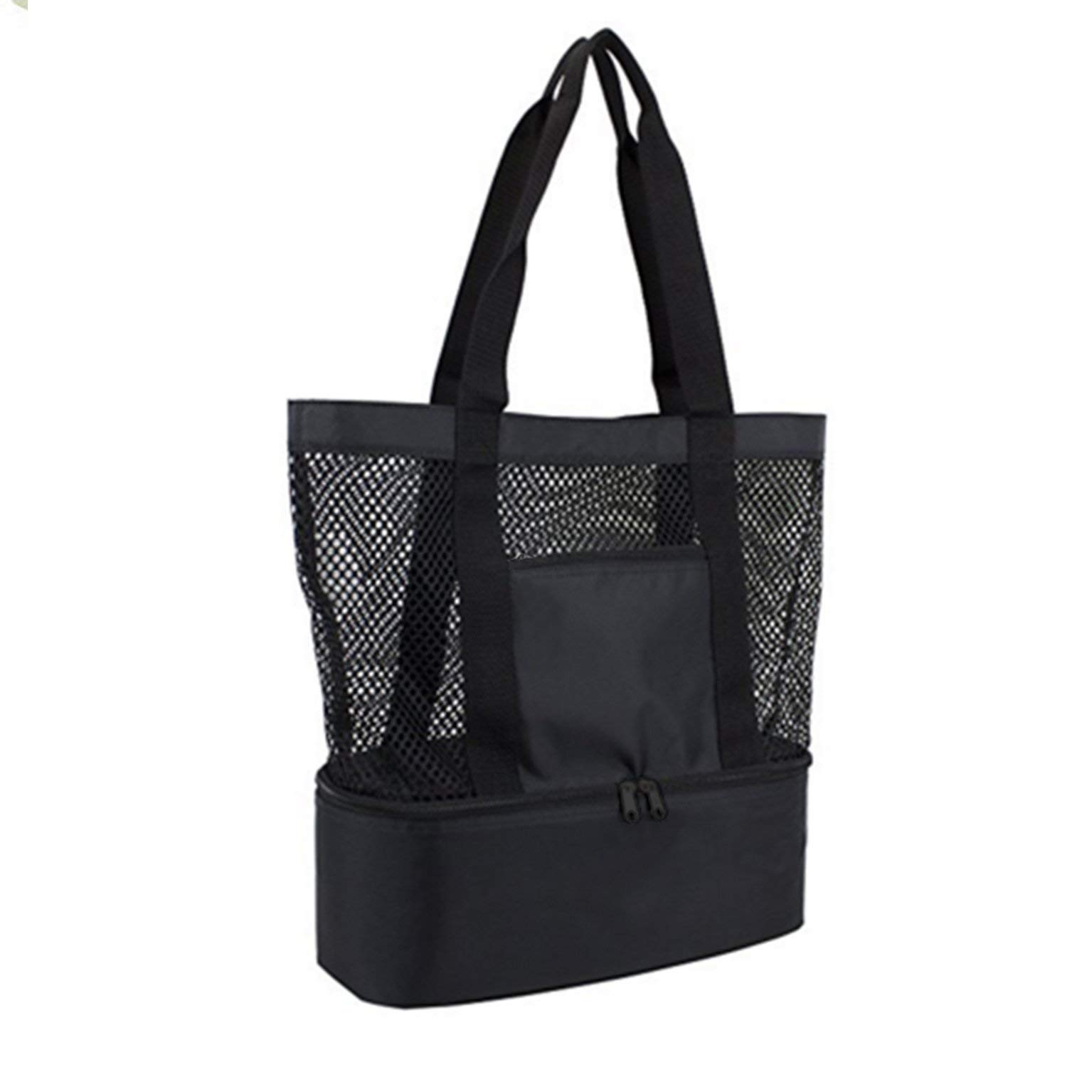 Mesh Beach Bag Tote Bag Stay Away from Sand for the Beach with Zipper Top and Insulated Picnic Cooler