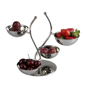 stainless steel fruit plate, fruit tray with display rack for holding up bowls