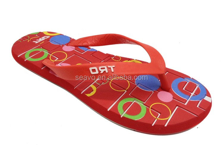 Seavo Cute Emboss Rainbow Circle Insole Designer Wedding Use Red Women Eva Flip Flops