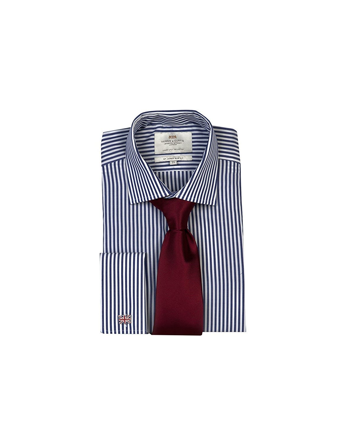 beff991462 Get Quotations · HAWES & CURTIS Mens Navy & White Bengal Stripe Slim Fit  Shirt - Double Cuff