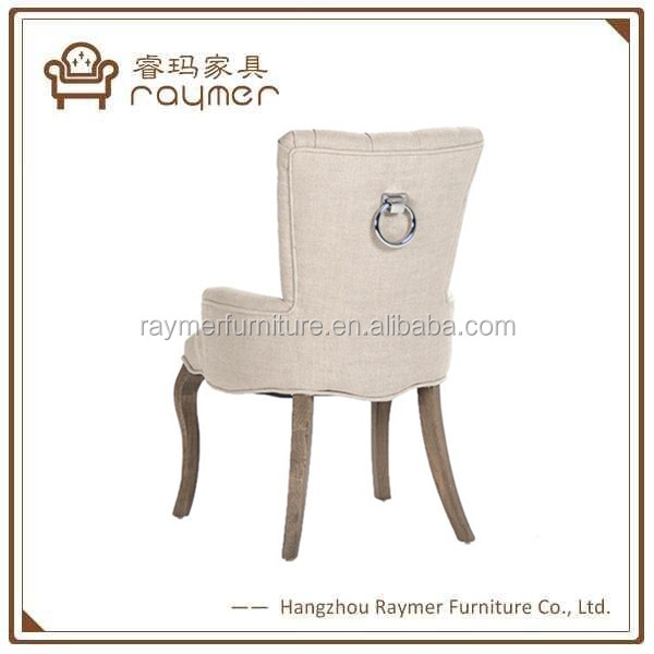 Shabby chic home furniture plain linen fabric tufted vanity dining chair with mental ring