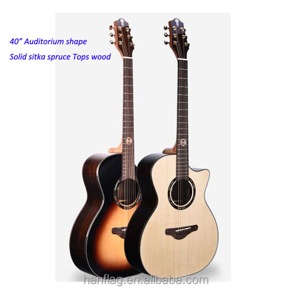 "40 "" Auditorium shape folk guitar solid spruce top woods acoustic guitars factory sell directly"
