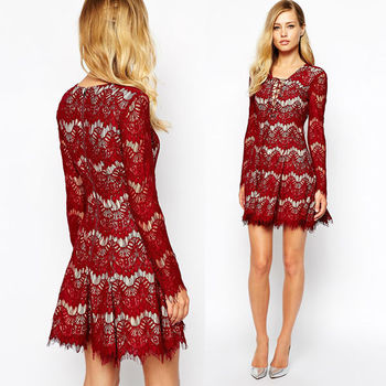 Factory Supply Latest Design Lace Dress Ray Silk Flowers Dress For