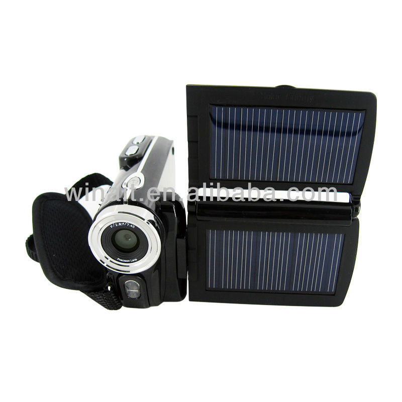 8X digital zoom Digital still camcorder with Dual solar charging,White LED light and Photo sticker function DV-T90+