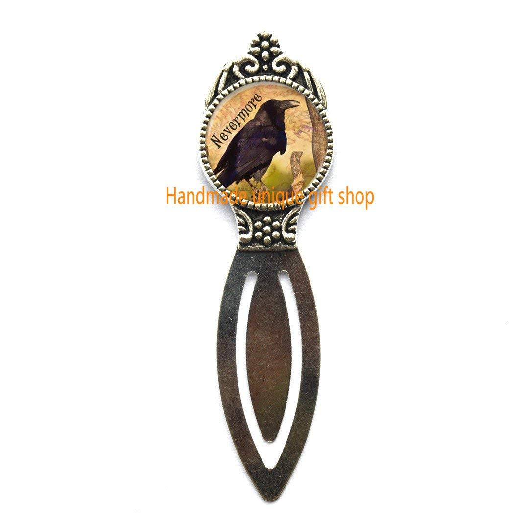 Beautiful Bookmark,Gift Bookmark,Raven Bookmark, Poe's Raven Nevermore, Nevermore Bookmarker, Goth Jewelry.TD011 (A)