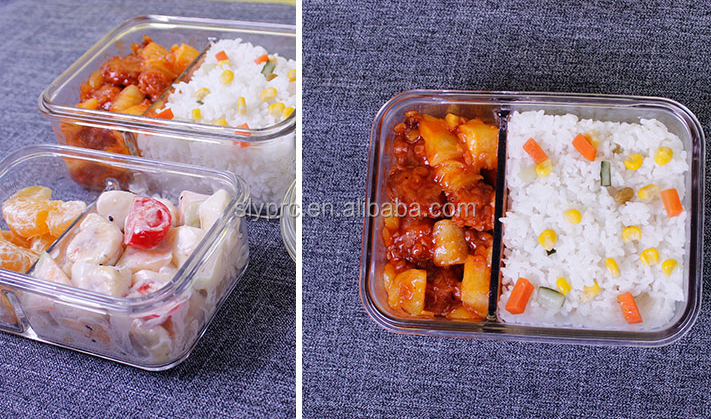 2 divider glass food container with air tight lid