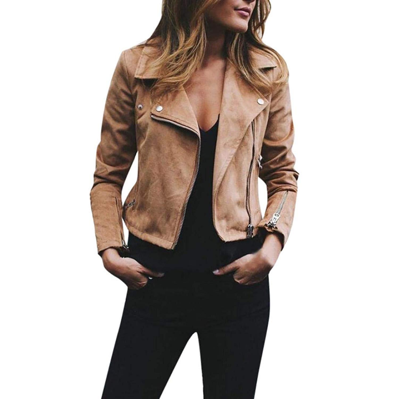 HTHJSCO Women's Motorcycle Biker Short Coat Jacket Slim Zipper Jacket, Retro Rivet Zipper Casual Coat Outwear