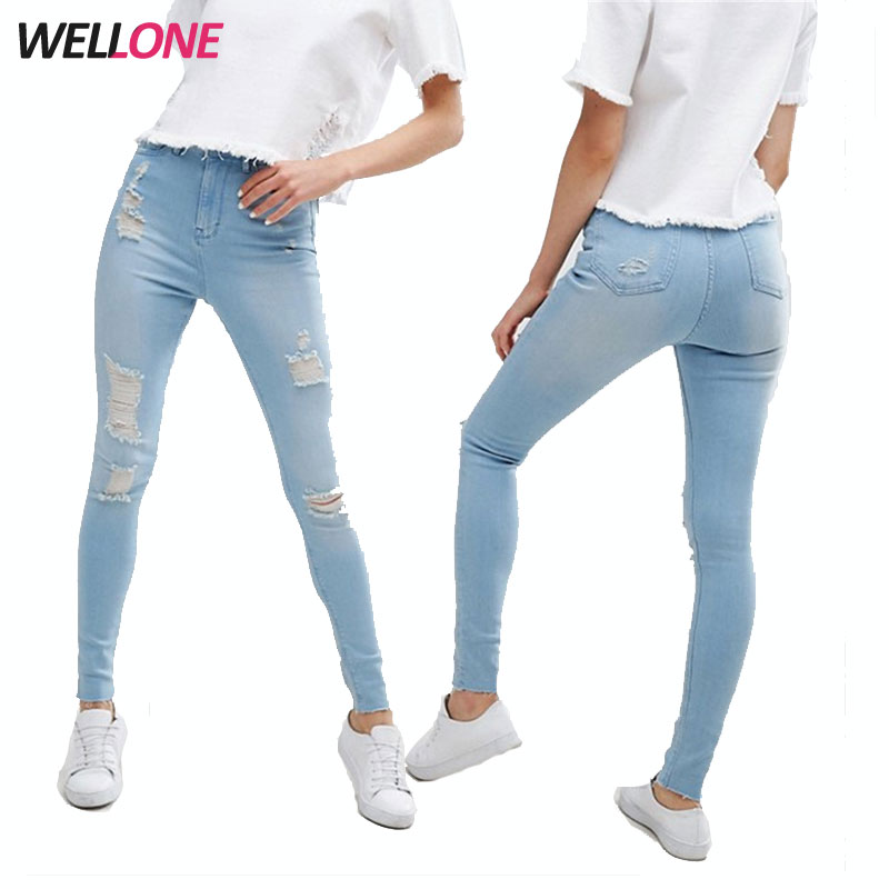2018 Summer New Women Joker Slim Slimming Hole Washed Casual Pencil Jeans Complete In Specifications Jumpsuits