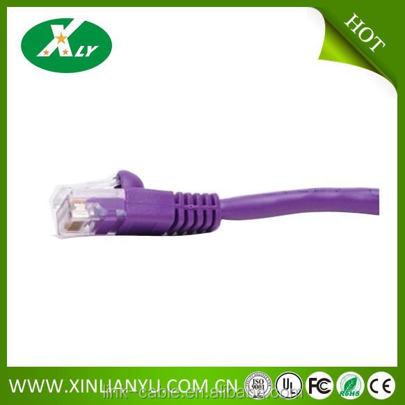 0.5ft CAT5E Ethernet Cable - 350MHz Bare Copper Molded Snagless Boot with Purple