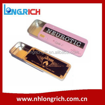 high quality rectangular slide top metal tin box for candy