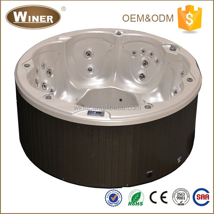 6 person freestanding round acrylic spa whirlpool jet bubble massage Japan hot tub