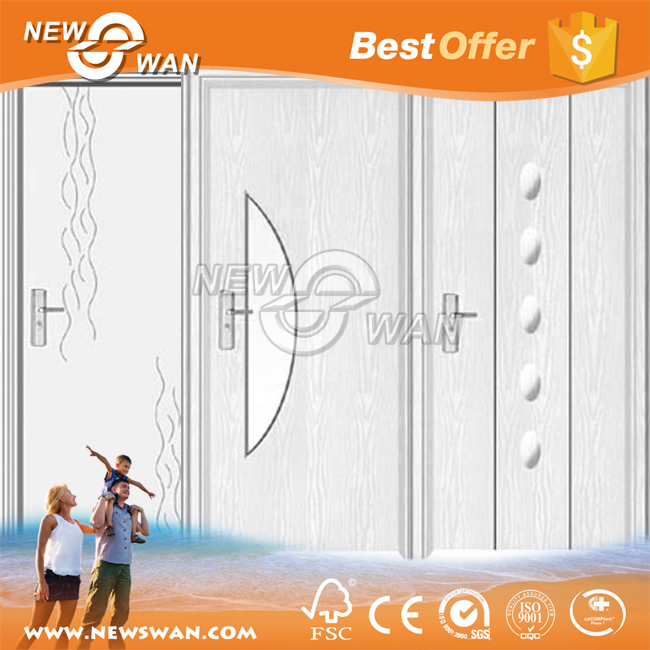 Modern design PVC bathroom entry door with glass inserts