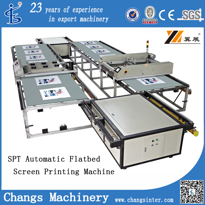 SPT Automatic Flat bed PU/leather/eva/slipper/textile/fabric/garment/glass/sillicon rubber Silk Screen Printing Machine for sale