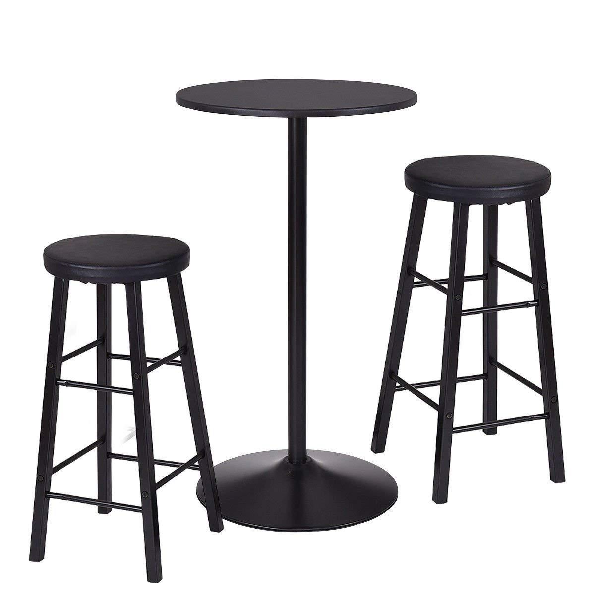 Get Quotations · White Bear U0026 Brown Rabbit Round Bar Table Set With 2 Stools  Bistro Pub Kitchen Dining