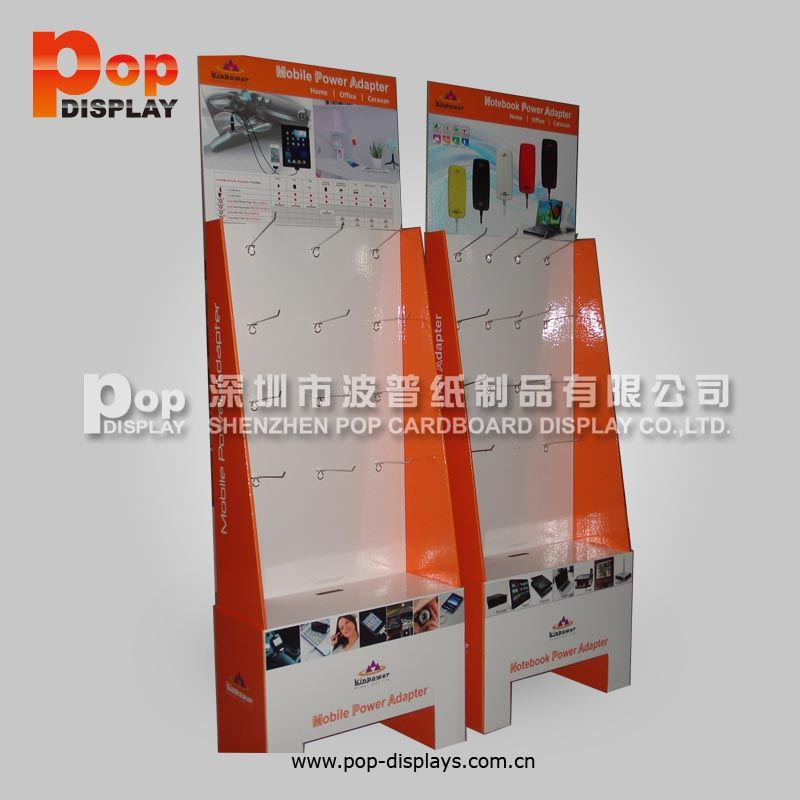 cda42bc106b Expositores de chão de papelão com gancho para acessórios para celular