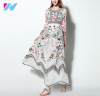 new women summer autumn fashion long sleeve Noble Floral Embroidery dress elegant Floor-Length dress