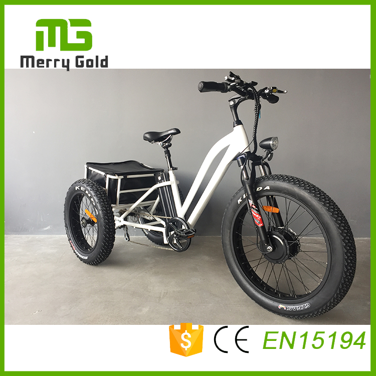 Aluminum alloy rear basket electric fat tire tricycle with 48v 500w front electric motor