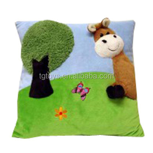 Kid's favourite cartoon giraffe and trees arts plush cushion pillow