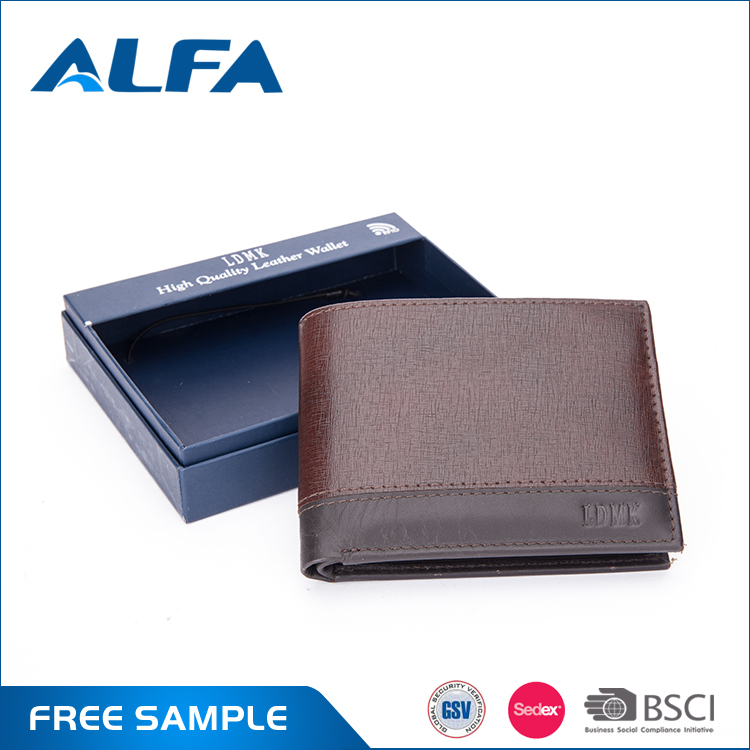 Alfa Wholesale Products Cheap Price Custom Design Brown Male Fashion Leather Purse