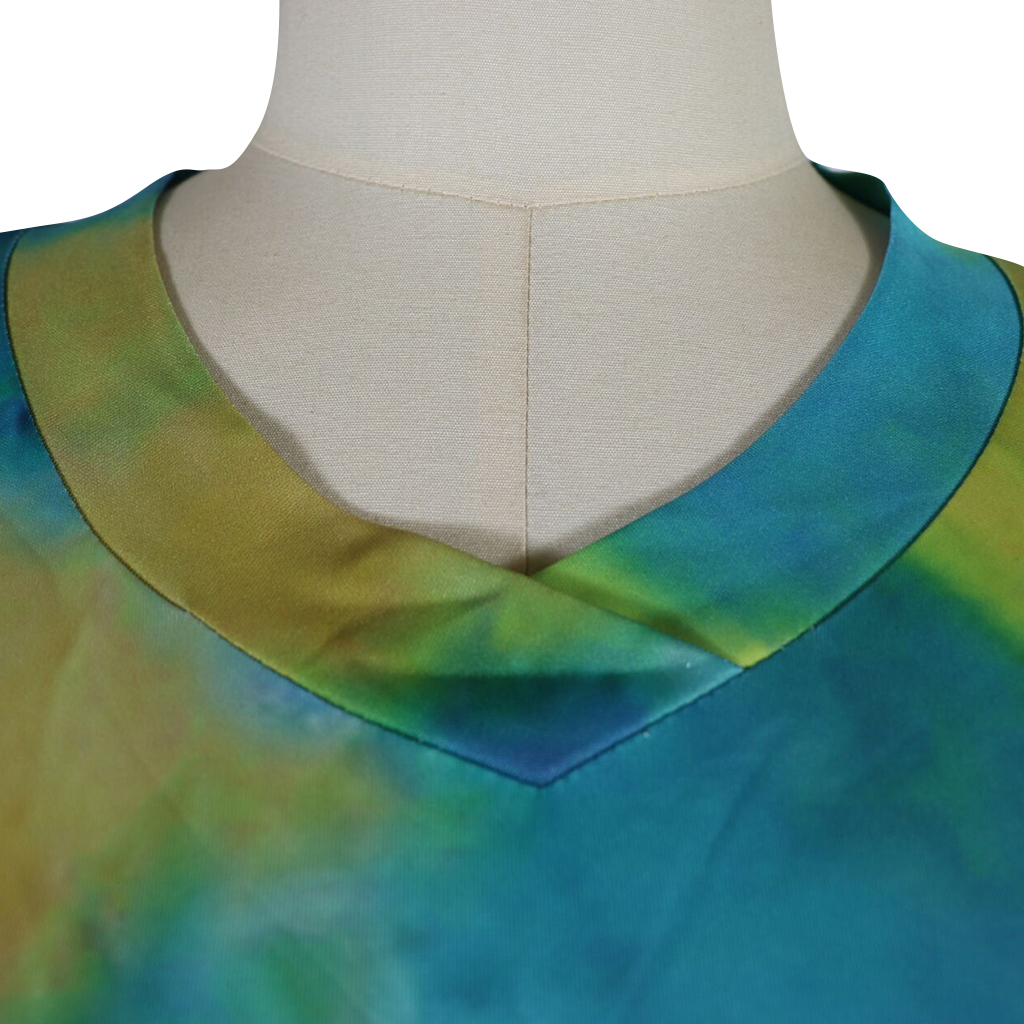 3723  2019 short sleeved v-neck side slit shirt  tie dye t shirts women