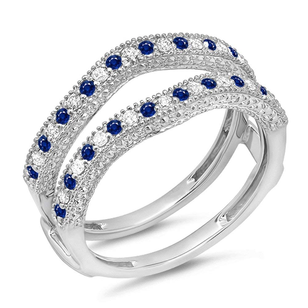 Dazzlingrock Collection 14K White Gold Round Blue Sapphire & White Diamond Ladies Wedding Millgrain Guard Ring (Size 9)