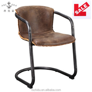 Leisure vintage style tubular steel full top grain leather office armchair