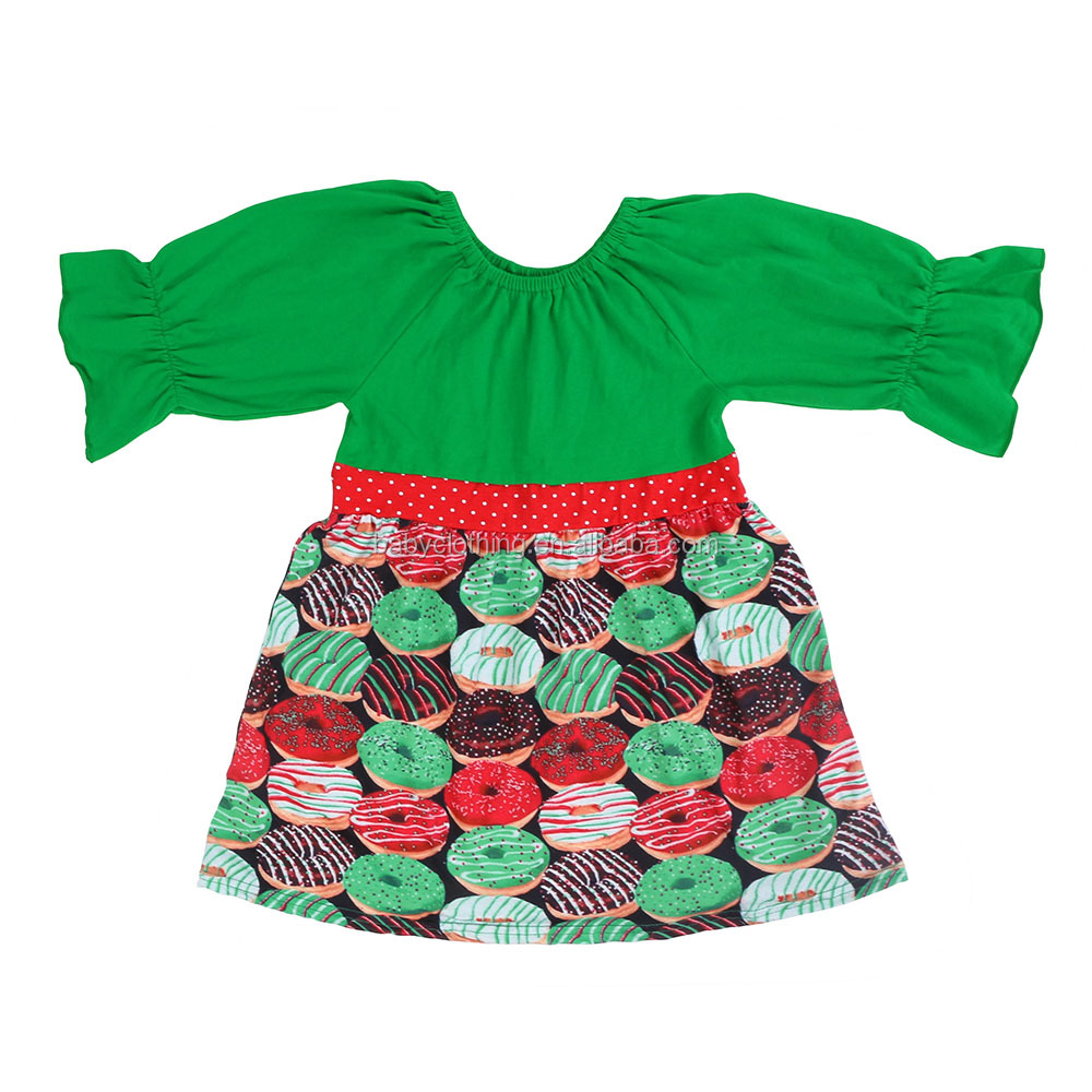 2017 fall winter half sleeves style green donuts Christmas peasant kids clothes girl child dress
