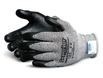 Superior S13SXGBFN Superior Touch Dyneema Speckled String Knit Glove with Foam Nitrile Coated Palm, Work, Cut Resistant, 13 Gauge Thickness, Size 8, Black/Gray (Pack of 1 Pair)