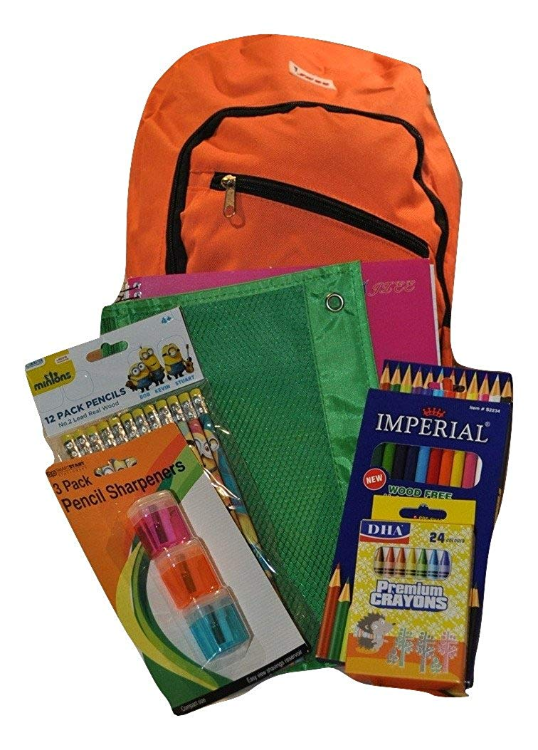 JLee Backpack Bundle with Notebook and Supplies (7 Items) (Orange)