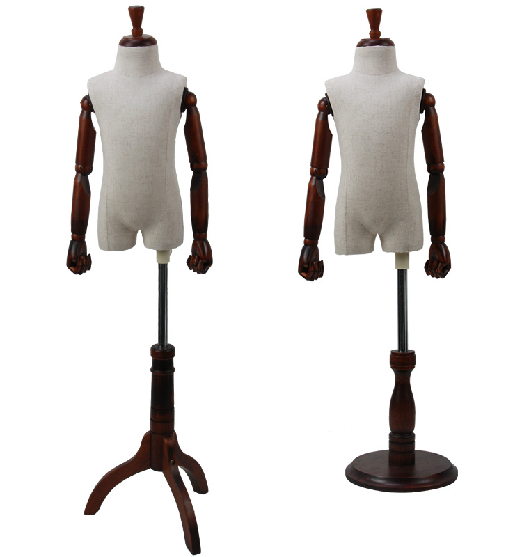 Garment Tailor fabric kid child Torso Mannequin with articulated wooden arms