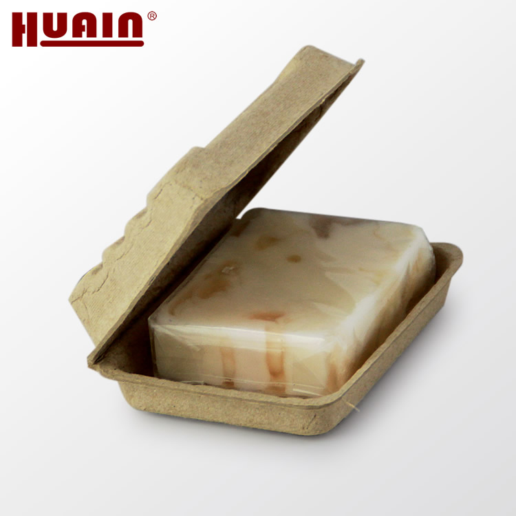 Recycled eco friendly custom molded paper pulp soap packaging box