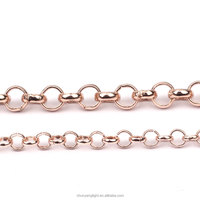 4 Colors Copper Brass Platinum Silver Rose Gold Plated Bronze Link Rolo Chain Jewelry Making Supplies Necklace Findings by Meter