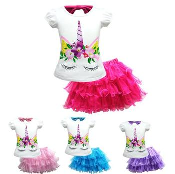 YWLL Little Girl Unicorn Skirt Set Short Unicorn T-Shirt and Cute Tutu Lace Skirts for Kids Costume Birthday Party