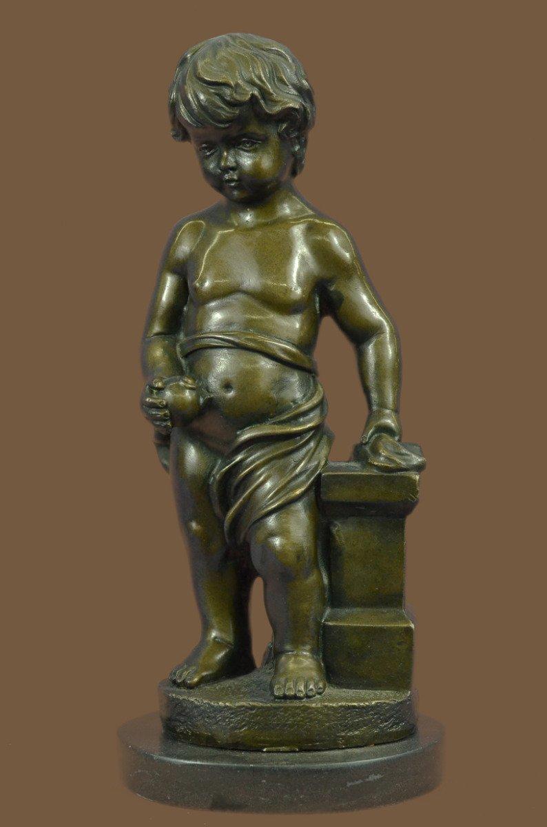 "...Handmade...European Bronze Sculpture 13"" Signed Art Nude The Little Boy Holding Apple (1X-YRD-086) Bronze Sculpture Statues Figurine Nude Office & Home Décor Collectibles Sale Deal Gifts"