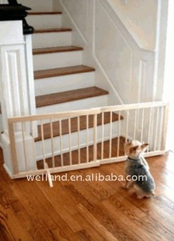 Beau Free Standing Step Over Wooden Pet Gate/ Adjustable Stairway Dog Fence  E