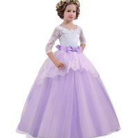 Autumn and Winter Blow-out Children's Wedding Dresses in Europe and the United States, Lace Sleeve Tail Skirt Back Hollow