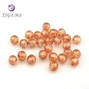 Round champagne cz 3mm faceted beads with full whole