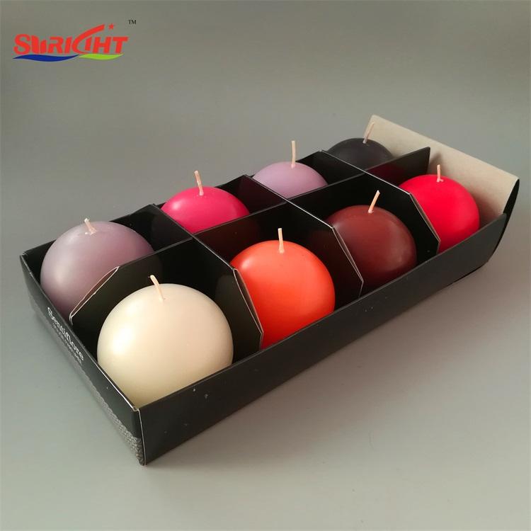 Red Silk Surface Craft Handmade Ball Candle