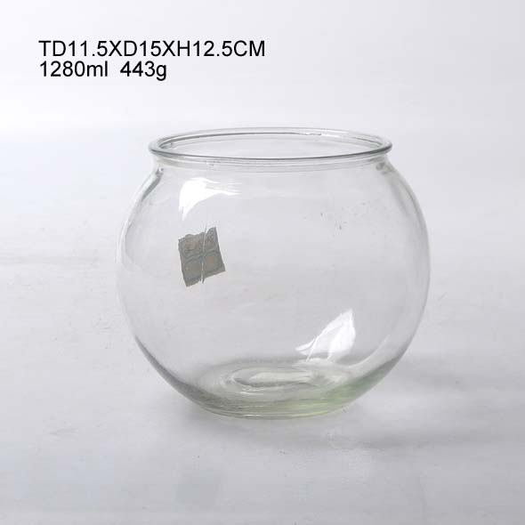 round flat glass fish bowl for home decoration