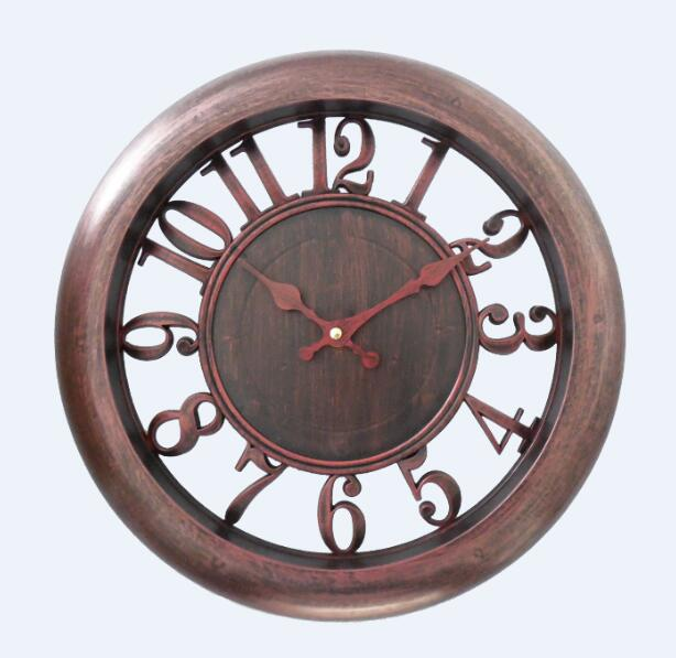 Antique Retro Decorative Plastic Round Wall Clock with Hollow Looks